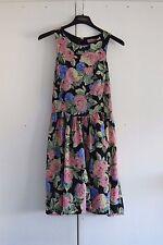 UK 12 EU 40 ASOS PETITE Summer Dress Black Floral Skater Beach Holiday (290)