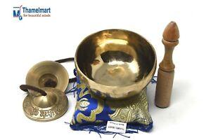 4 Inch Tibetan Singing bowl handmade brass(7metal)Free Tingsha, cushion & mallet