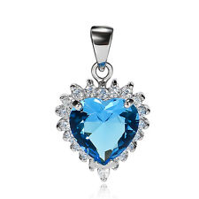 925 STERLING SILVER SIMULATED SKY BLUE SAPPHIRE CZ HEART OF OCEAN PENDANT P812B