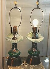 Antique Fenton Jack in the Pulpit pair of Electric Lamps Enamel Hand-Painted