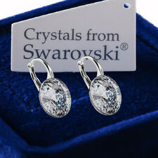 925 Sterling Silver Earrings White Patina Genuine 12mm Crystals from Swarovski®