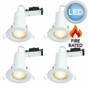 Set of 4 x Gloss White LED GU10 Fixed Fire Rated Downlights Including Bulbs