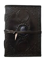celtic leather journal with stone black handmade triple moon third eye 7x5 Inch