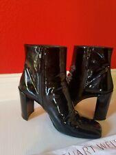 Stuart Weitzman Vigor Ankle Boots 7M Black Leather Patent