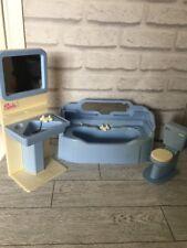 Sindy Azul Conjunto de Baño Fregadero Unidad Inodoro Baño Vintage Retro muñeca casa muebles