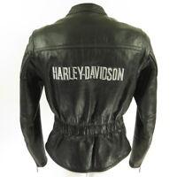 Harley Davidson Black Leather Jacket Womens M Motorcycle Biker Embroidered