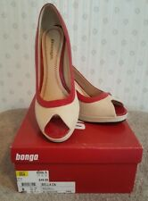 NWB Bongo 8M Shoes Heels Pumps Bella Peekaboo Open Toe Red Tan Career NEW B1