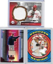 NICK JOHNSON LOT OF { 3 } DIFFERENT AUTHENTIC GAME USED BAT & JERSEY CARDS