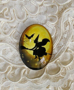 Witch On Broom & Moon 30X40mm Glitter Unset Handmade Glass Art Bubble Cameo Cab