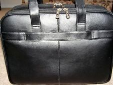 Samsonite Leather Business Case Check point friendly ( Black) New W/Tags
