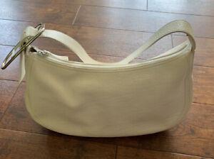 FURLA Off-White Pebbled Leather Hobo Shoulder Handbag