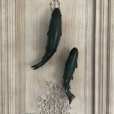 Set of 2 Fish Koi Carp Wall Hanging Ornaments Antique Style Vintage Fisherman