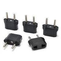 5PCS Black US/AU to European EU Travel Charger Adapter Plug Outlet Converter
