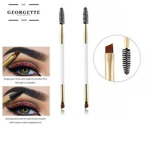2 Pack Duo Eyebrow Brush by GEORGETTE - Premium Angled EyeBrow Brush and Spoolie