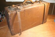 Antique Hard Brown Leather Suitcase Luggage Transportation Ship Airplane
