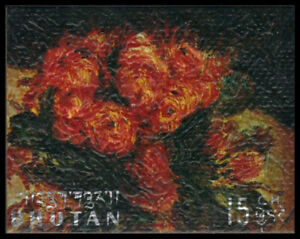 """BHUTAN 114D - """"Roses 1890"""" by Pierre-Auguste Renoir (pa90433)"""