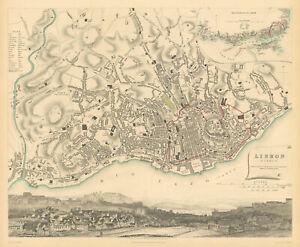 LISBON LISBOA. Antique town city map plan. Inset environs. Panorama. SDUK 1844
