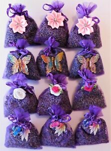 ORGANIC LAVENDER IN ORGANZA BAGS. 12 BAGS HIGH QUALITY LAVENDER FROM TASMANIA