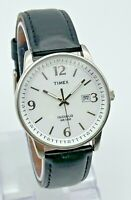 Men's TIMEX Classic Silver Tone White Dial Watch, Date, Indiglo, Black Leather
