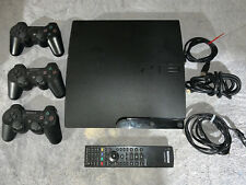 SONY PLAYSTATION 3 SLIM CHARCOAL BLACK CONSOLE - PS3 - CECH-3001A BUNDLE -TESTED