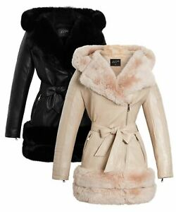 Womens Faux leather Biker Coat Black Faux Fur Collar Jacket Size 8 10 12 14 New