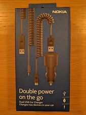 New GENUINE Nokia DC-20 Dual USB Universal Car Charger in RETAIL PACK