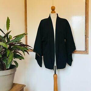 Vtg Japanese Black Silk Short Kimono Jacket 8 10