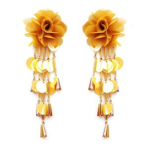 Dangle Earring Drop Earrings Floral Sequins Flower Bohemian Tassel Earrings AA