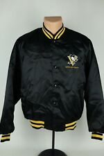 Vintage Pittsburgh Penguins NHL Swingster Mens Medium Black Satin Jacket USA