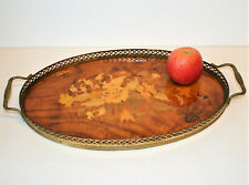 More details for vintage sorrento serving tray, wood with floral marquetry inlay & brass railing