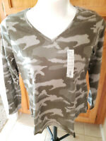 Women's NWT SONOMA Goods for Life Long Sleeve Camo V Neck Size XL