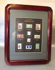 """RARE Wood Framed & Matted MINNESOTA POSTAGE STAMPS - 13"""" x 16"""""""