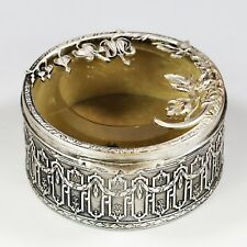 Antique French silver trinket Box w/ broken heart flower on hinged glass lid
