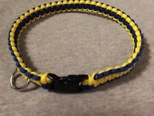 "Dog Collar 550 Paracord 18"" 3/4 yellow/blue Plastic Clip and metal D-Ring."