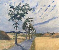Ölbild Ölgemälde Landstraße mit Bäumen Anonym 35 x 41 cm Dänemark
