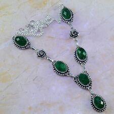 "Handmade Green Emerald Gemstone 925 Sterling Silver Necklace 18.25"" #K68816"