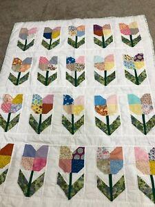 "Homemade Tulip Quilt -Blue, Pink, Green, Purple - Farmhouse Quilt-46"" x 58"""