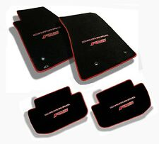 NEW! Ebony Floor Mats 2010-2015 Camaro Embroidered Logo RS Red w/ binding  All 4
