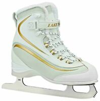 Lake Placid EVEREST Women's Soft Boot Figure Ice Skate White/Gold SZ 7 LP695W