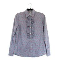 Laura Ashley Size 10 Vintage 1990s Floral Roses Blouse 100% Cotton Frill Ruffle