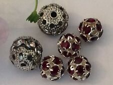Vintage Rhinestone Bead Ball Mixed Spacer drilled Red Crystal x7 Craft POST FREE