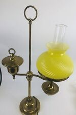 Vintage Brass  Student Lamp Yellow Glass Shade - Electric