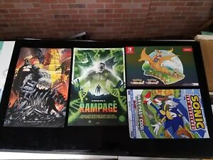 4x VIDEO GAME POSTER LOT - RGC Charzard Poster POKEMON - SONIC IDW - RAMPAGE x2