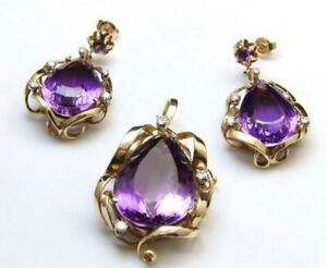Statement Pear Cut Amethyst Pendant Earrings Set w/ Brilliant Diamonds 14k Gold