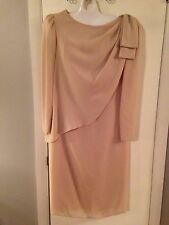 Vtg 1980s Asymmetrical Union Made Dress 12 Mother Of Bride Champagne Long Sleeve