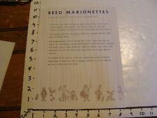 Vintage Puppeteer Biographical Paper: REED MARIONETTES, DELAVAN, WISCONSIN