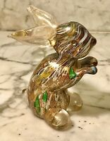 VINTAGE MURANO ART GLASS PAPERWEIGHT MILLEFIORE BUNNY RABBIT FIGURINE