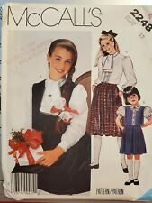 Vtg McCall's pattern 2248 Girls' Blouse, Vest & Pleated Skirt size 12 uncut