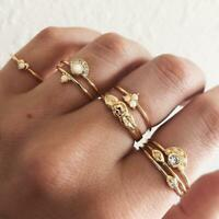 8pcs Boho Retro Lots Crystal Rose Gold Silver Stackable Ring Sparkly Jewelry