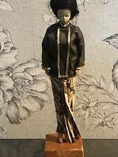 Vintage Japanese Doll Gofun Clay & Silk Nihon Ningyo Geisha 1950's Hand Made